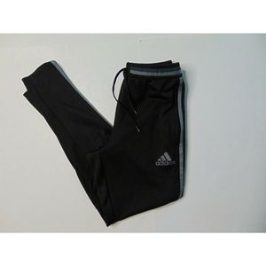 Adidas Small Black Jogger Track Pants Gray Striped